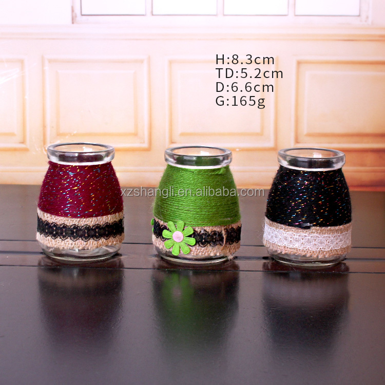 diy pudding glass jar 100ml round with ropes food grade glass jars
