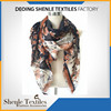 Ladies oversize flower printed polyester square scarf SL-260