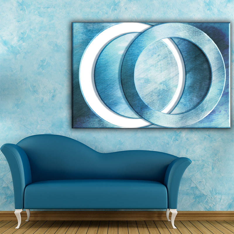 Blue and white circles modern abstract wall canvas art painting designs