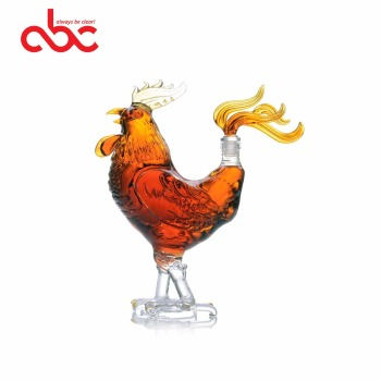 Animal Shaped Glass Bottle Rooster Shaped Clear Glass Decanter 1000ml