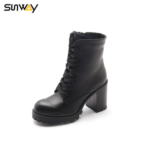 SUNWAY Manufacturing Company Winter Women Zipper Fabric Lining Army High Ankle Boots