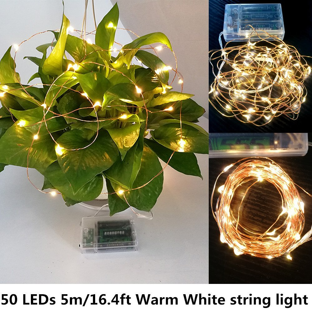 Led String Lights, 3 Modes 5m/16.4ft Mini Battery Powered Copper Wire Starry Fairy Lights, Battery Operated Lights for Bedroom, Christmas, Parties, Wedding, Decoration (50 LEDs Warm White)