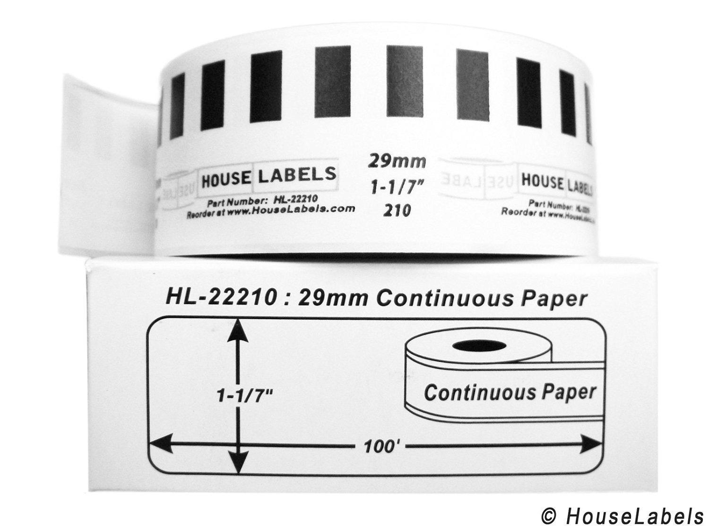 "54 Rolls; Continuous Paper, BROTHER-Compatible DK-2210 Continuous Paper Labels (1-1/7"" x 100'; 29mm30.48m) -- BPA Free!"