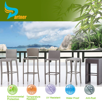 Modern Elegant Design Outdoor Furniture Plastic Commercial Bar Stool High  Chairs/Poly Rattan Armless Bar