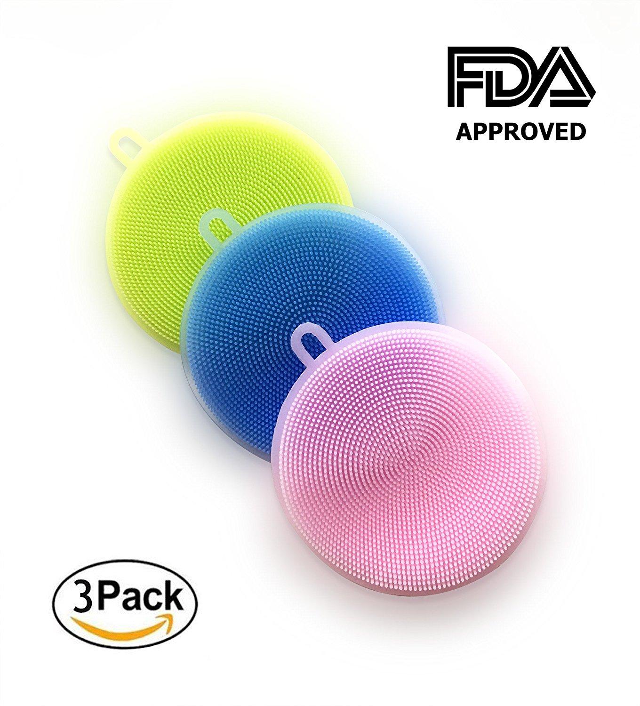Silicone Sponge, pack of 3 Silicone Brush | Multipurpose Dish Scrubber | Kitchen Cleaning | Antibacterial Dishwashing | Food-Grade | Mildew-Free | Car Sponge | FDA Approved