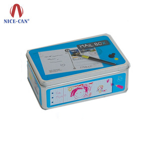 Nice-Can hot sale rectangular antique greeting cards tin containers high quality mail box