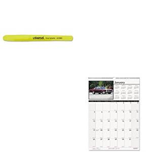 KITHOD3772UNV08851 - Value Kit - House Of Doolittle Classic Cars Monthly Wall Calendar (HOD3772) and Universal Pocket Clip Highlighter (UNV08851)