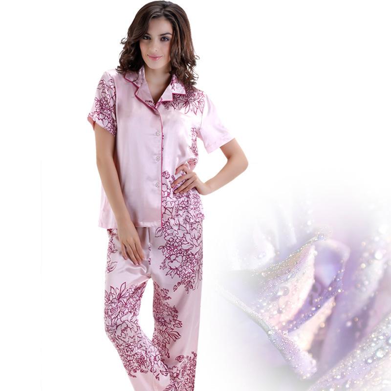 Get Quotations · Women Pajama Sets Short-Sleeved silk Sleepwear Emulation  Silk Pyjamas Female Printed Nightwear Casual Homewear b96cc7116