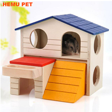 2017 hemu small animal hideout hamster house deluxe two layers hut play toys chews wooden pet house