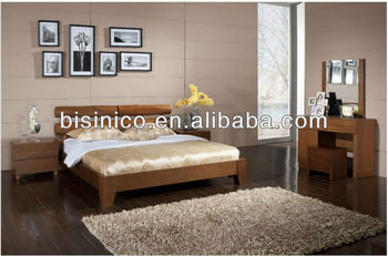 Simple Bed With Solid Wood Frame Bedroom Furniture,Malaysia Style Bedroom  Natural Wood Furniture