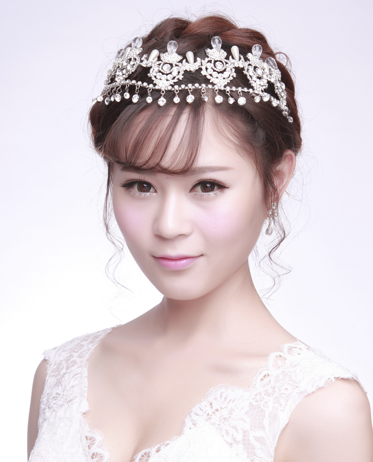 Elegant 2015 New Silver Plated Bridal Frontlet with Shiny Rhinestones Bride Accessories Crowns Hot Sale Women Tiaras
