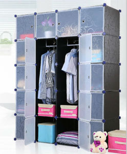 Hot Selling Living Room Environment Friendly Modern Big Black Plastic Bedroom Collapsible Wardrobe