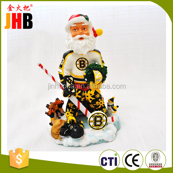 Boston Bruins Official Santa Claus xmas resin hand painted Limited Edition Bobble