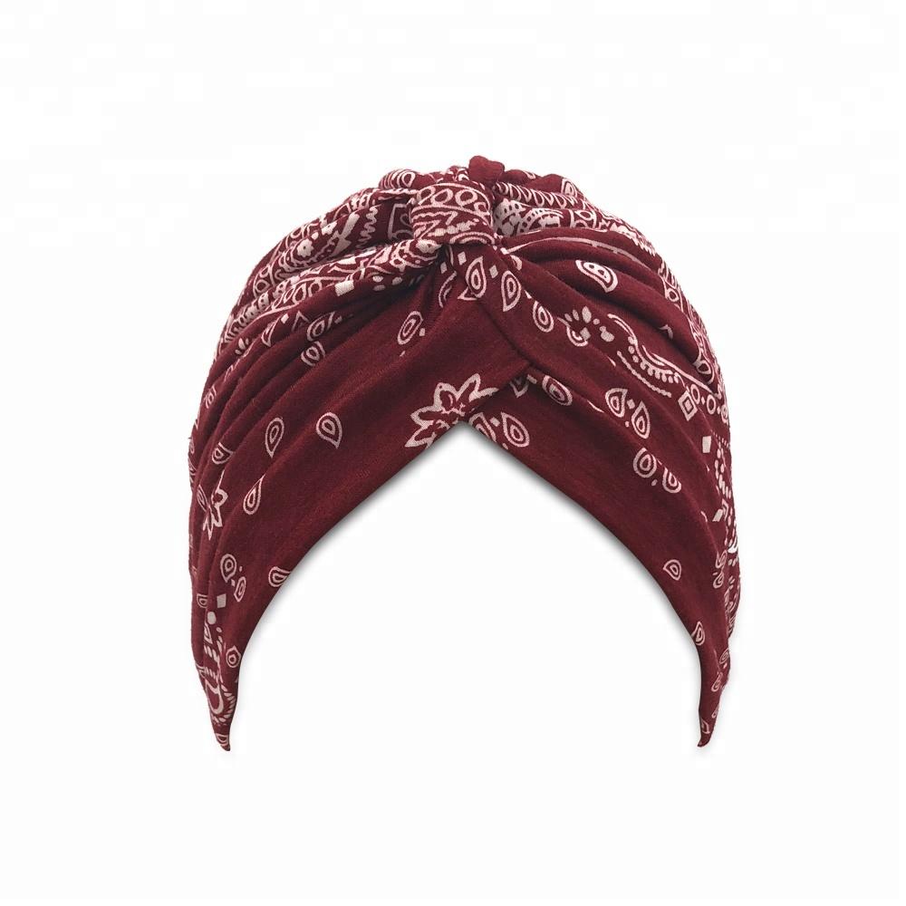 186c2604b2916 Paisley Print Womens Ruffle Chemo Hat Burgundy Beanie Scarf Turban Headwear  For Cancer Patients
