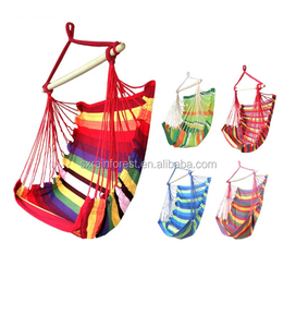 Outdoor Canvas Striped Hanging Hammock Rope Swing Seat Chair
