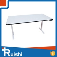 White executive office desk with metal legs sit stand desk