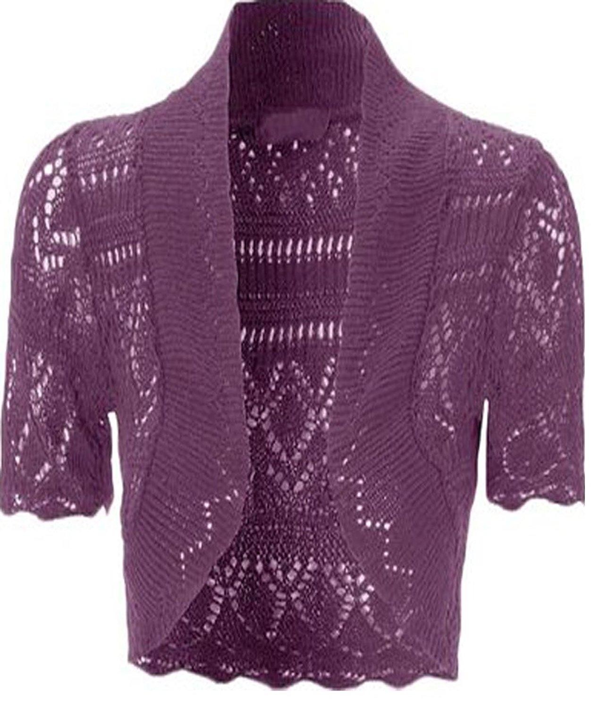 Get Quotations · Womens Knitted Bolero Shrug Short Sleeve Crochet Shrug  (Purple) b160379ab