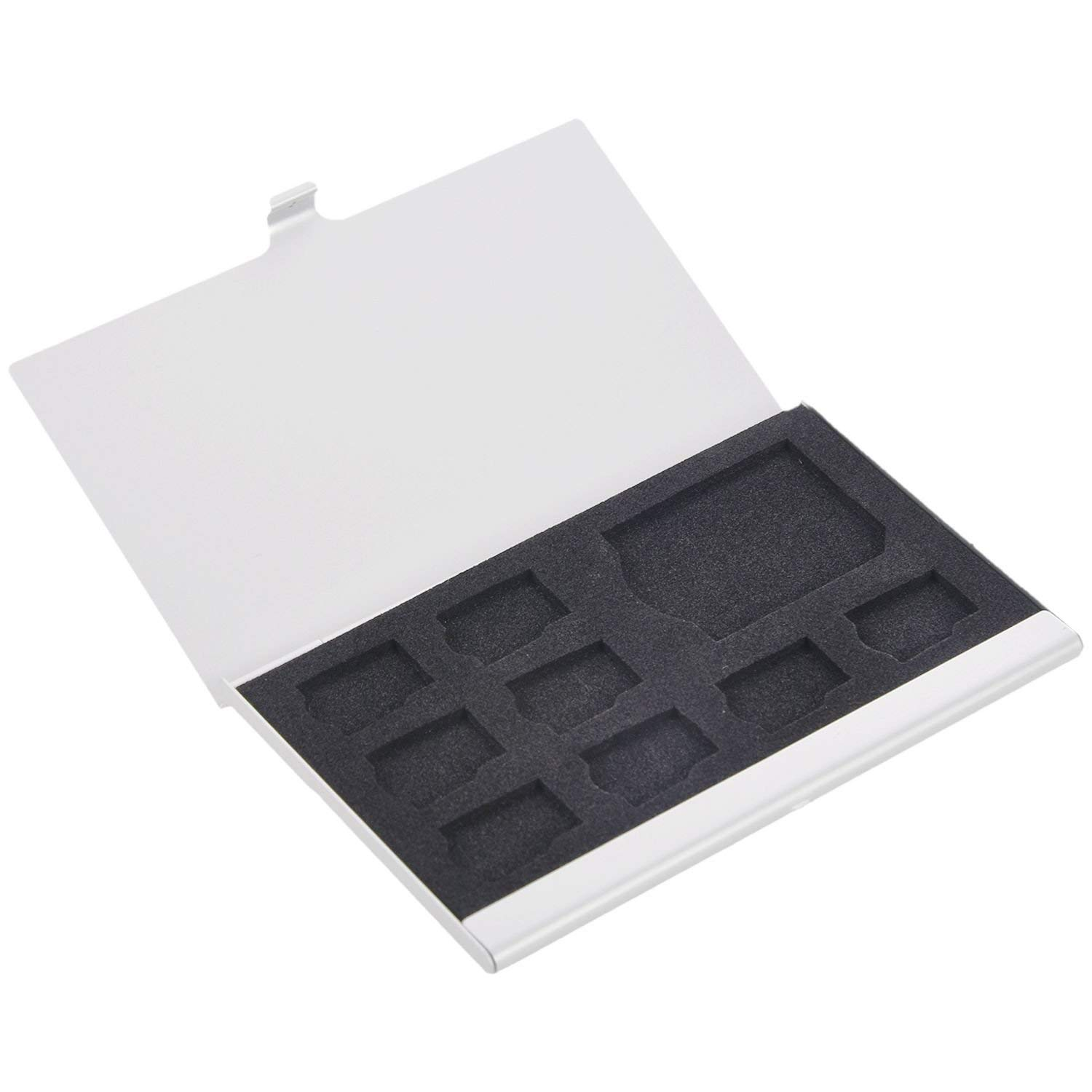 SODIAL(R) 9 Micro-SD/SD Memory Card Storage Holder Box Protector Metal Cases 8 TF&1 SD