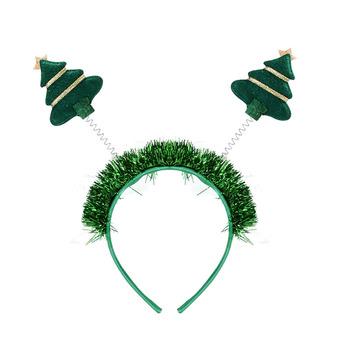 Green tinsel Christmas headband mini tree and star children or lady  Christmas tree headband 016f1e5b298