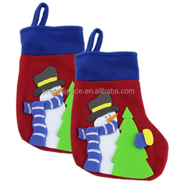 2017 new fashion promotion China fur gift decorating knitted novelty felt Christmas decorated bulk ornament snowman ankle socks