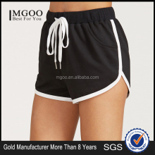 MGOO Black Drawstring Waist Contrast Binding Dolphin Shorts Sport Cotton Shorts Plain Hot Shorts