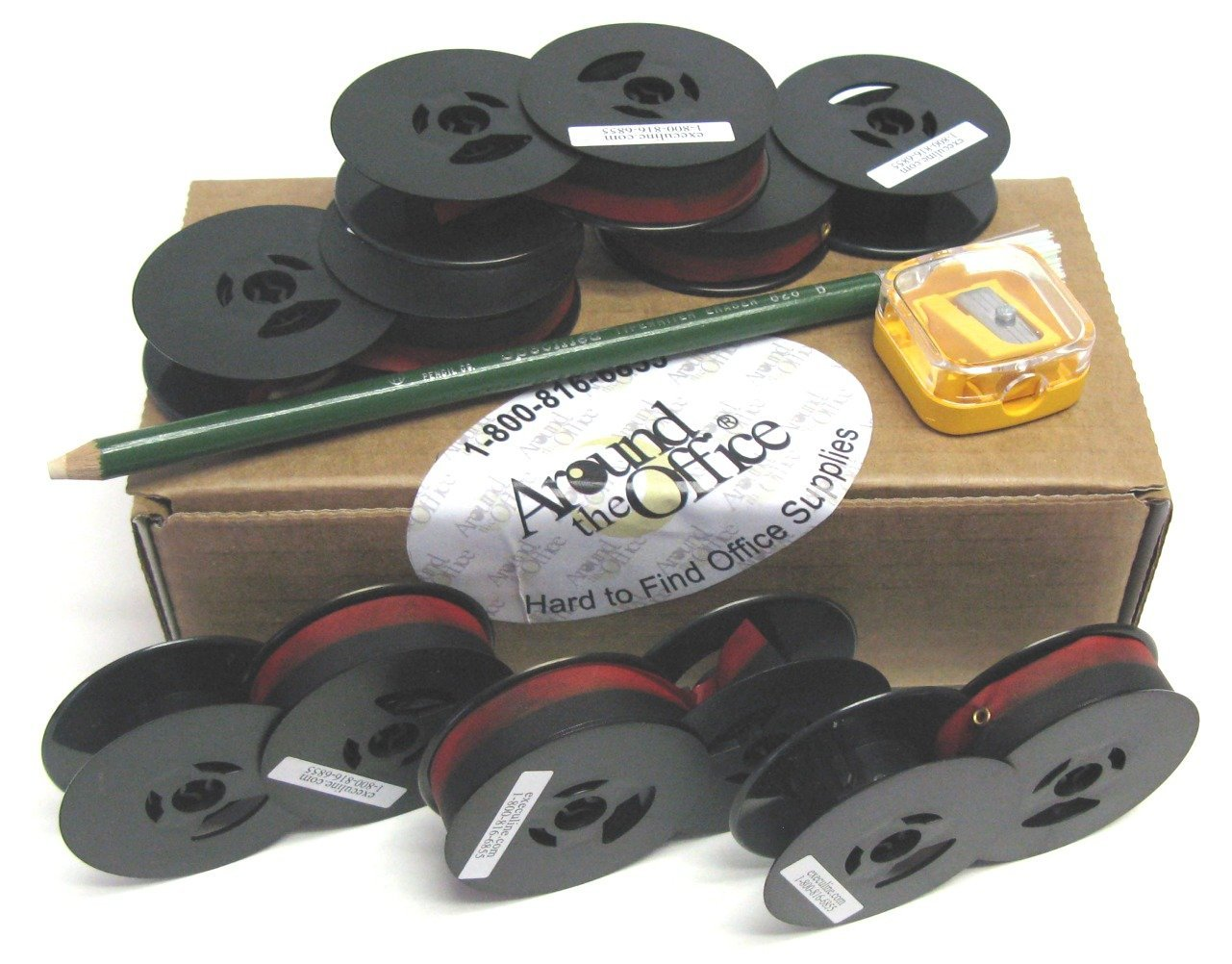Universal Portable Typewriter Black 2 inch Twin Spool Black & Red Ribbon with 1 Eraser Stick & 1 Pencil Sharpener