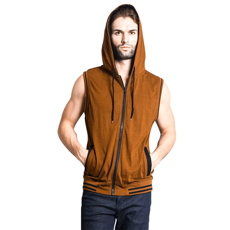 custom sports workout mens Casual sleeveless zipper up vest with hoody