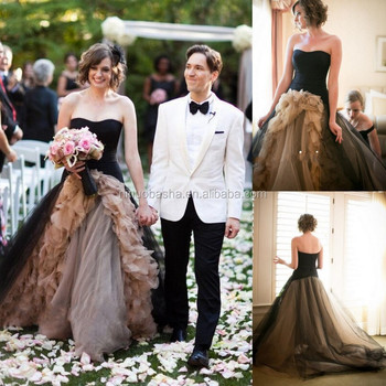 NW1159 Ruffle Organza Black Tulle Wedding Dresses Short Front And Long Back Bridal Gowns
