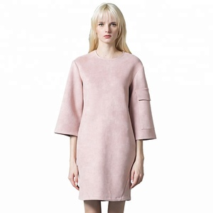 Fancy Designer Warm Suede Clothes Women Ladies Simple Fashion Straight Pink Dress for Office