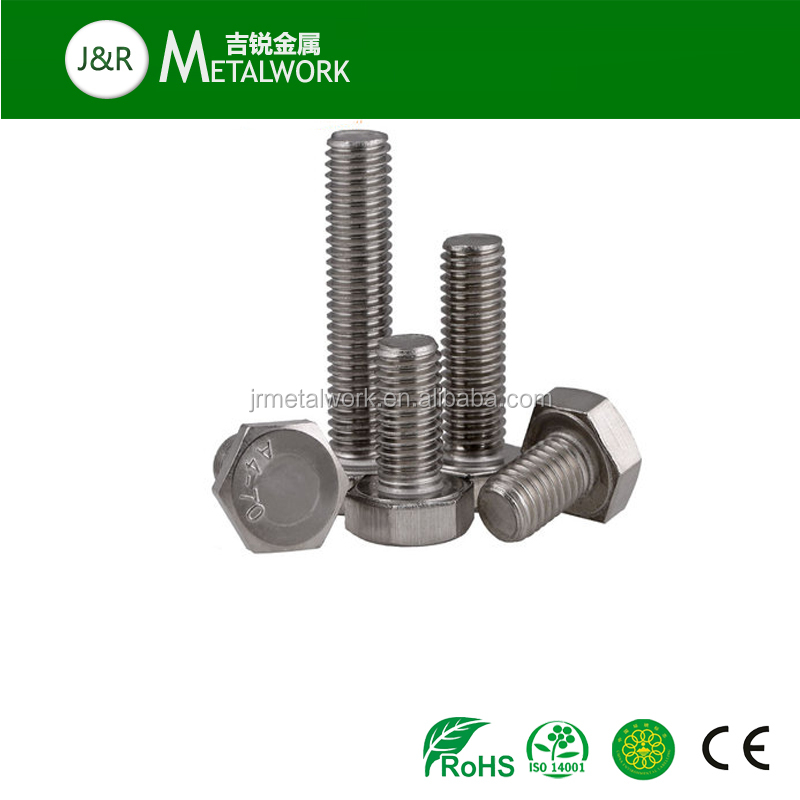 M6 M10 M16 stainless steel SS304 SS316 hex head DIN 933 bolt