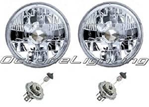 """OCTANE LIGHTING 7"""" 24V Halogen Military Headlight Headlamp H4 Bulbs Crystal Clear 24 Volt Pair"""