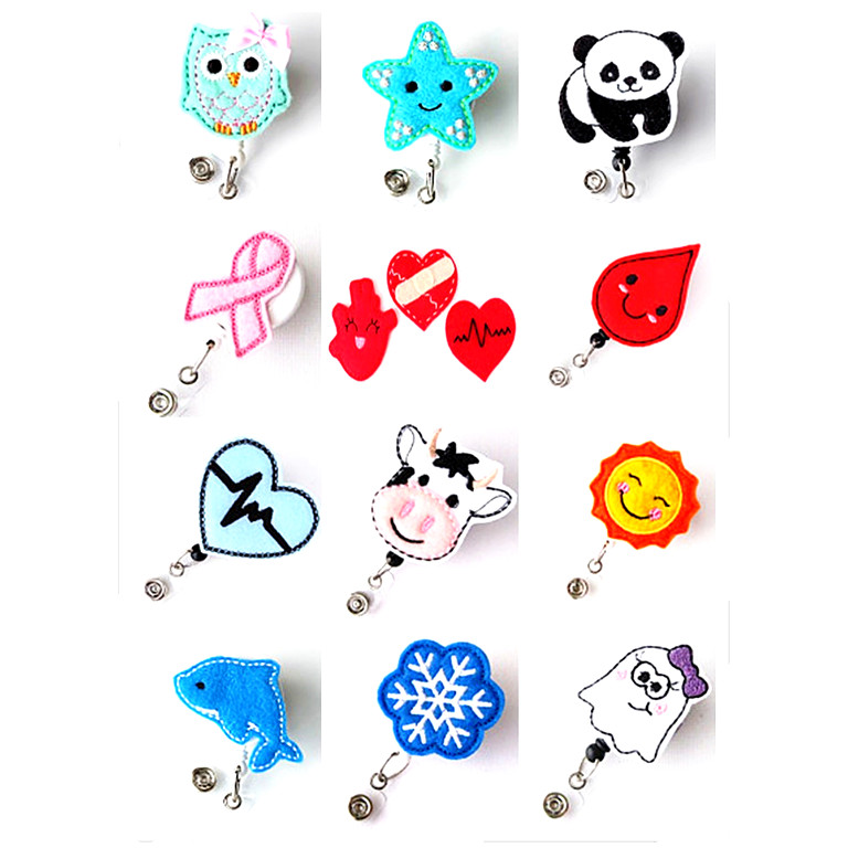 Cute Cartoon Retrattile Nurse ID Badge Reel Holder