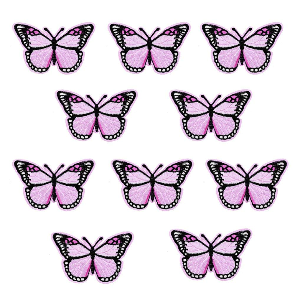 XUNHUI Pink Butterfly Patches Badges for Clothing Iron Embroidered Patch Applique Iron on Patches Sewing Accessories for Clothes 10 Pieces