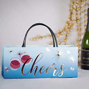 Eco-friendly Recycled Glossy Wine Bottle Custom Design Printing Paper Carry Bags with Handles