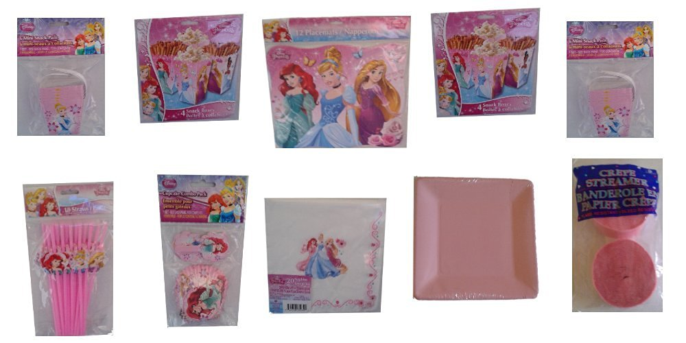 Disney Princess Ultimate Birthday Party Supply,Party Decorations, Bundle