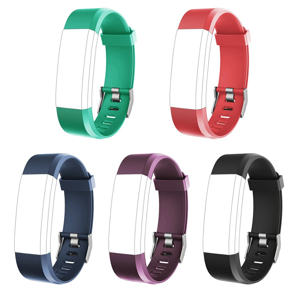 LETSCOM Replacement Bands for Fitness Tracker ID115Plus HR, 5 Pack (Black, Blue, Purple, Red, Green)