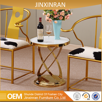 Modern Gold Color Living Room Furniture White Natural Marble Corner Table