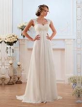 2016 Vestido de noiva Lace Wedding Dresses Sweep Train Lace-up Back Chiffon Bridal dress New Arrival