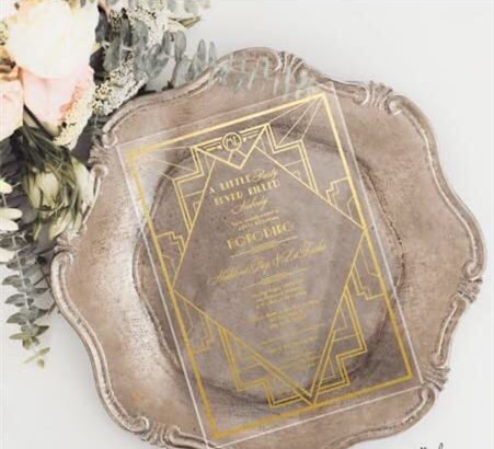 Wholesale Engraved Square Gold Mirror Acrylic Wedding Invitations With Customized Design