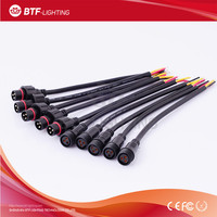 3pin 3core Led Waterproof connector cable,male and female;Black color wire IP65,Applicable 0.75mm,Plasic