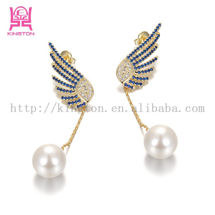 2015 wholesale latest design of wing zircon pearl 925 sterling silver earrings