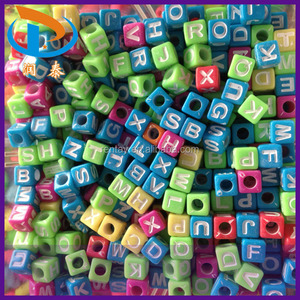 AAA Quality 7*7MM 2200Pcs Plastic Multi-color Opaque Alphabet Acrylic Pony Beads with White Letters
