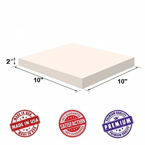"""Upholstery Visco Memory Foam Square Sheet- 3.5 lb High Density 2""""x10""""x10""""- Luxury Quality For Sofa, Chair Cushions, Pillows, Doctor Recommended for Backache & Bed Sores by Dream Solutions USA"""