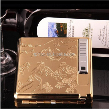 Rechargeable USB Charging Lighter with Cigarette Case Environmental No Gas Smoke 20PCS Cigarette Case with a Mirror