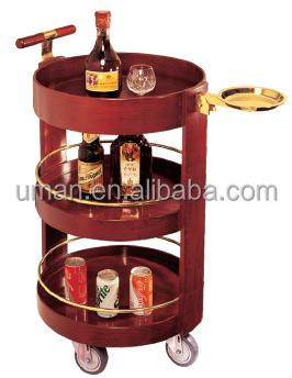 Wood Rolling Wheeled Bar Cart Wine Rack Portable Drink Server Bottle