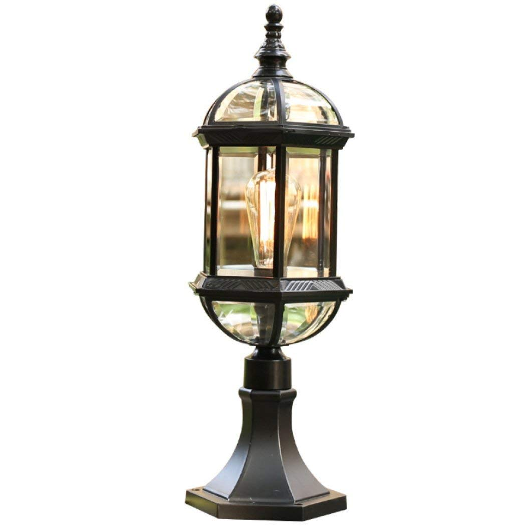 Outdoor Garden Waterproof Pillar lamp, Die Casting Aluminum Alloy & Glass Shade Lamp Fixtures, E27 Light Source Villa Pillar Light