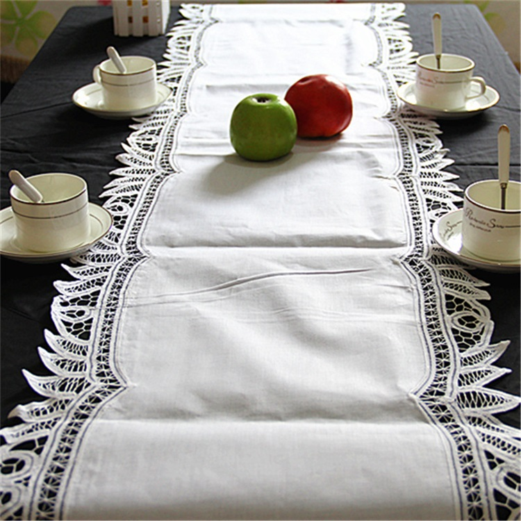 European Style High Grade Cotton Cloth Handmade Lace White Table Runner