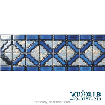 sample design non-slip swimming pool colorful mosaic wall border tile, View  non-slip swimming pool border tile, TAOTAO Product Details from Foshan ...