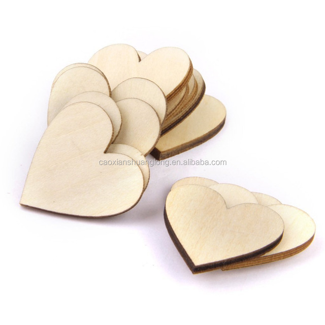 Wood chips Heart shape with holes Embellishments for Crafts