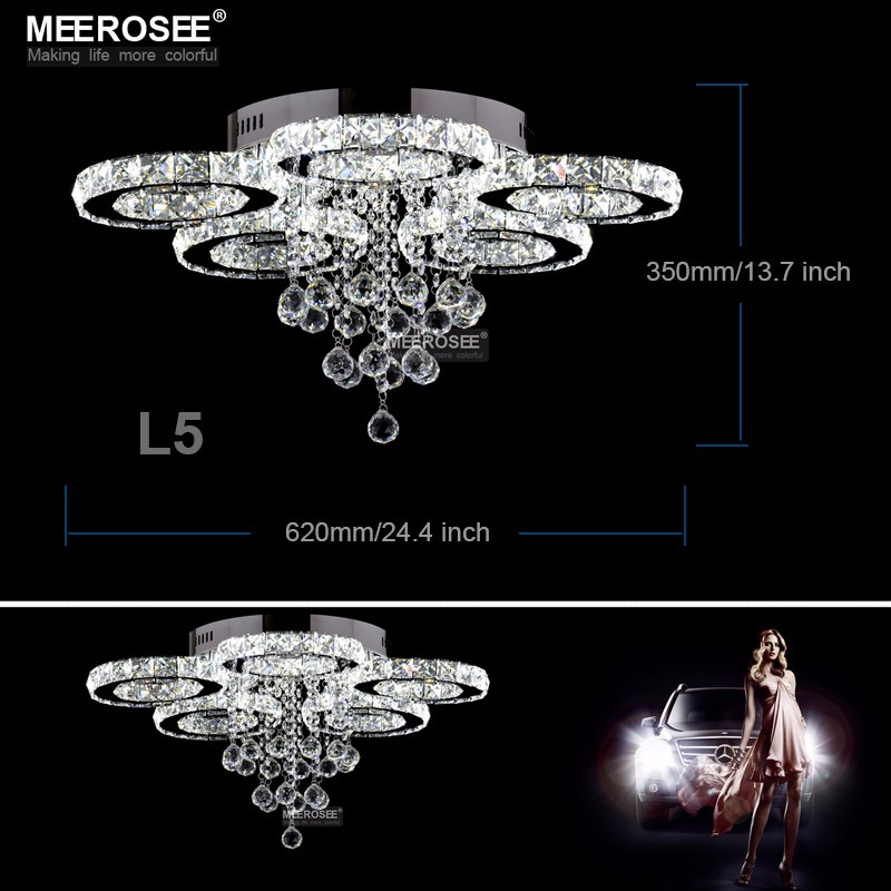 Modern Chrome Chandelier Crystals Diamond Ring Led Lamp: Modern LED Crystal Chandelier Ring Circle Lustre Ceiling